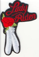 Lady Rider Rose and Feather Red Patch 4x3