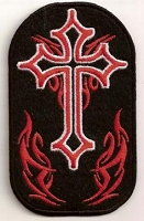 Cross with Red Flames Patch 2.5x4