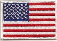 US Flag Patch with White Border 3x2