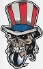 Uncle Sam Skull Large Patch 11x6.72