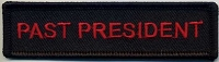 Past President Patch Black with Black Border Red Lettering