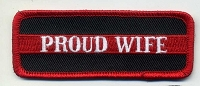 Proud Wife Patch Red Border 3.5x1.25 Heat Seal
