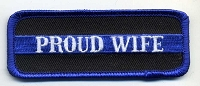 Proud Wife Patch Blue Border 3.5x1.25 Heat Seal