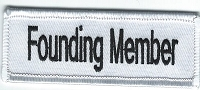 Founding Member patch 4x1 White background and border with black lettering Heat Seal