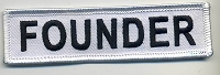 FOUNDER Patch White with white Border Black Lettering 4