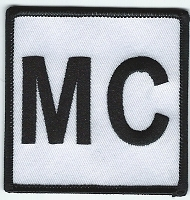 MC Patch White With Black Lettering and Black Border, Size: 3