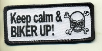 Keep Calm and Biker Up patch 3.5x1.5 with heat seal