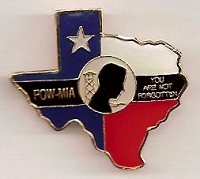 Texas POW hat / vest pin