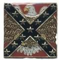 REBEL FLAG WITH LARGE EAGLE BEHIND THE BARS HAT / VEST PIN