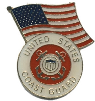 US COAST GUARD WITH AMERICAN FLAG HAT / VEST PIN