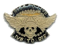 LIVE TO RIDE SKULL WITH WINGS HAT / VEST PIN