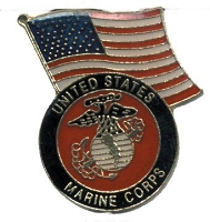 US MARINE CORPS WITH AMERICAN FLAG HAT / VEST PIN