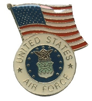 US AIR FORCE WITH AMERICAN FLAG HAT / VEST PIN