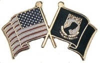 USA AND POW WAVING FLAGS HAT / VEST PIN