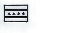 City of Chicago Flag Patch White with Black Border 3.25 x 2.25