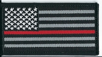 US Flag Subdued with Red Line Black Border 3.5x2