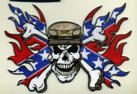 Confederate Soldier with Flag and Flames Medium Patch 6x4.3