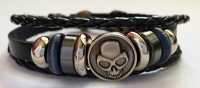 Handmade Beaded Leather Bracelet with Skull (black) 8.6