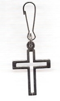 Cross - Nickel with Large Opening Zipper Pull - Approx 1