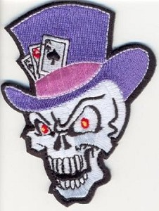 Skull with Top Hat and Cards Patch 3.5x2.6