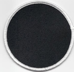 "Blank Patch 3"" Round Black Background White Border with Heat Seal"
