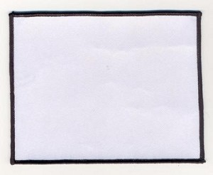 Blank Patch 6x4.75 White Background Black Border With Heat Seal