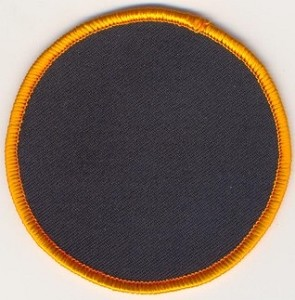 "Blank Patch 3"" Round Black Background Dark Orange border with heat seal"