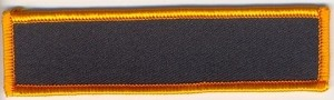 "BLank Patch 4 x 1"" Black Background Dark Orange border with heat seal"