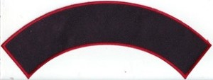Blank Top or Bottom Rocker Patch 9.75x2 Black Background Red Border