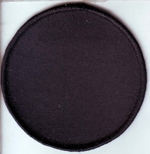 "Blank Patch 3"" Round Black Background Black Border with Heat Seal"