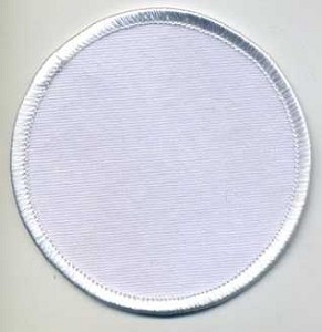 "Blank Patch 3"" Round White Background White Border with Heat Seal"