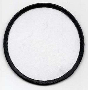 "Blank Patch 3"" Round White Background Black Border with Heat Seal Back"