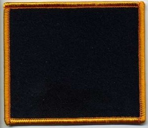 Blank Patch 3x3.5 Black Background Orange Border With Heat Seal