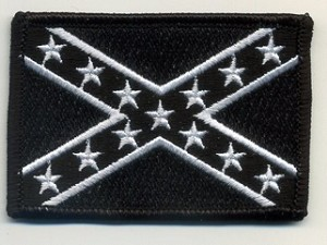Confederate Battle Flag Patch (Black and White) 3x2