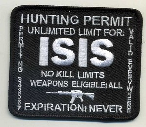 "ISIS Hunting Permit Patch 3.5""x3"" Black background, white lettering with heat seal"