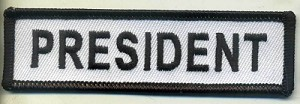 "President Patch White with Black Border, Black Lettering, 4"" x 1"", with heat seal"