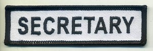 "Secretary Patch White with Black Border, Black Lettering, 4"" x 1"", with heat seal"