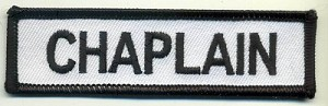 "Chaplain Patch White with Black Border, Black Lettering, 4"" x 1"", with heat seal"