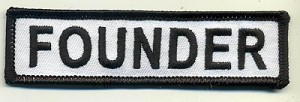 "FOUNDER Patch White with Black Border Black Lettering 4"" x 1"" with Heat Seal"