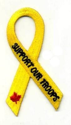 Support our Troops Yellow Ribbon with Canadian Maple Leaf patch 3x1.6 with heat seal