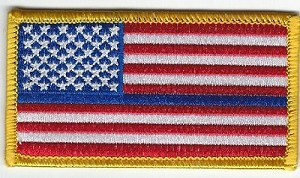 "US Flag with Blue Line Gold Border 3.5 x 2"" with heat seal"