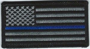 "Subdued US Flag with Blue Line 3.5 x 2.25"" with heat seal"