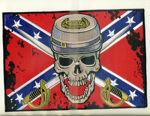 "CONFEDERATE SOLDIER WITH SABERS AND FLAG LARGE PATCH 10"" X 7"" WITH HEAT SEAL"