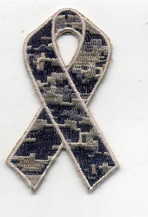 "Camouflage Ribbon patch 3x1.6"" with heat seal"