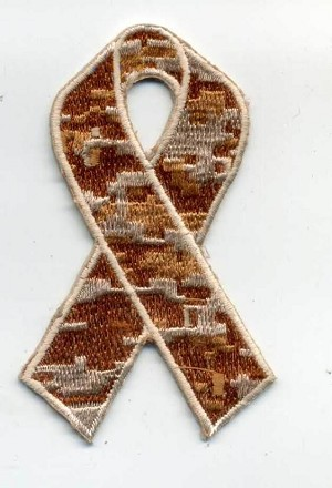 "Camouflage Ribbon patch 3x1.6"" KHAKI with heat seal"