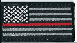 "US Flag Subdued with Red Line Black Border 3.5x2"" with heat seal"