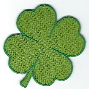 "Green 4 leaf clover patch 2.5"" x 2.5"" with heat seal"