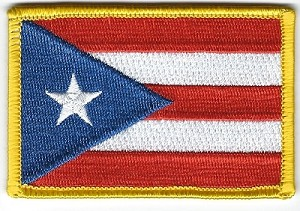 "Puerto Rico Flag with Gold border patch 3"" x 2""  with heat seal"