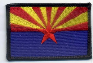 "Arizona State Flag Patch 3x2"" with heat seal"