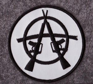 "Anarchy with Rifles patch 3.5"" round with heat seal"